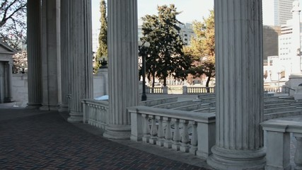 Pan across roman or greek columns at the Denver Civic Center