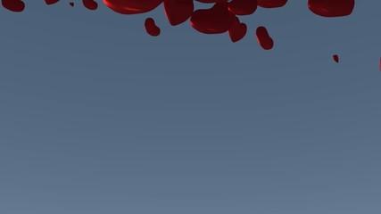 3-D Animation Aufsteigende Valentines Herzen