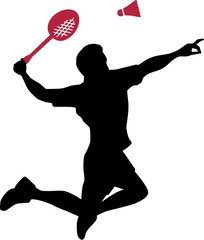 Badminton Player with Racket