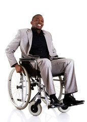 Disabled businessman sitting on wheelchair