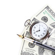Silver pocket clock and money isolated