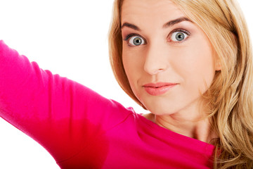 Woman sweating very badly