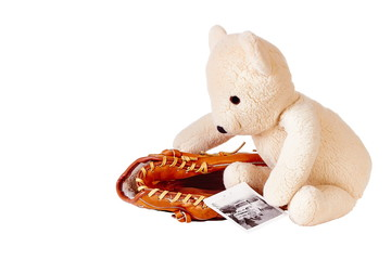 Teddy bear with baseball glove
