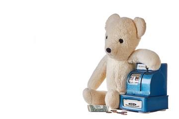 Teddy bear with coin bank