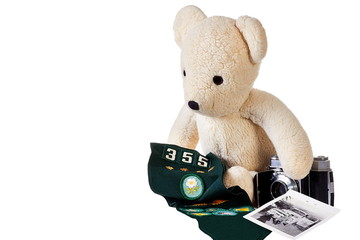 Teddy bear with old camera and badges