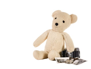 Teddy bear with old camera