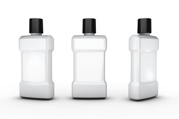 White plastic bottle with white blank label, clipping path inclu