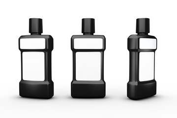 Black plastic bottle with white blank label, clipping path inclu