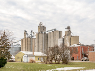 Large grain elevator complex in a small midwestern town