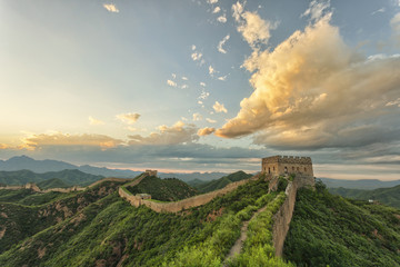 skyline and great wall during sunrise