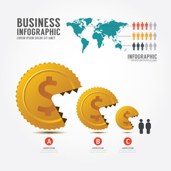 Infographics vector money and gold coin.Business eat little.