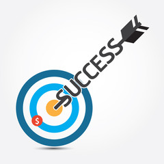 Vector arrow money business  on target concept.