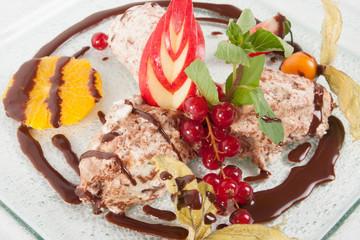 Dessert plate - pudding ice cream