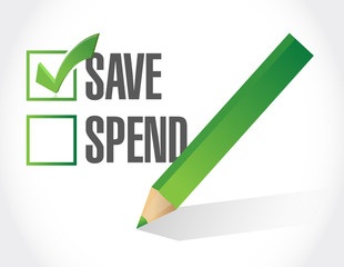 save over spend check mark illustration design