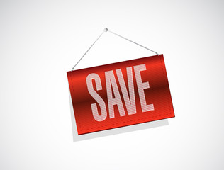 save red hanging banner illustration design