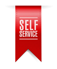self service red hanging banner illustration
