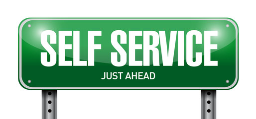 self service road sign illustration design