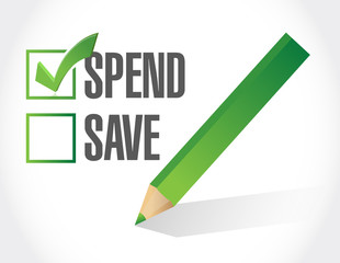 spend over save check mark illustration design