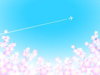 さくら背景 飛行機雲2