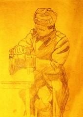 сам себе сапожник.рисунок.армия.1966-1968г.г белоруссия