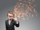 Child businessman with stream of ideas, grey background