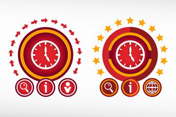Clock icon on creative background. Red design concept for banner