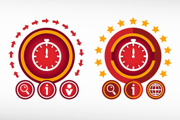 Stopwatch icon on creative background. Red design concept for ba