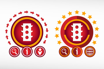 Semaphore icon on creative background. Red design concept for ba