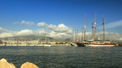 Timelapse: View on entrance to yacht Marina on Athens in Greece.