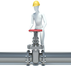 Steel pipeline with red valve. 3D construction worker with helme