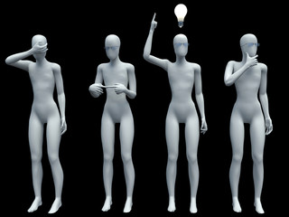 person and a light bulb. Concept of idea