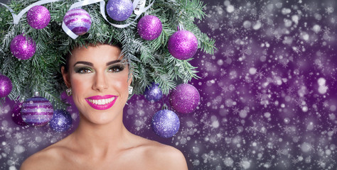 Christmas fashion model woman. Xmas New Year hairstyle and make