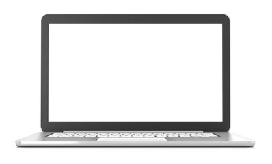 Laptop with blank screen, 3d render