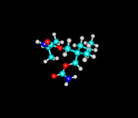 Carisoprodol molecule isolated on black