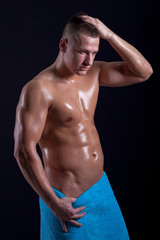 Portrait of fashion young caucasian sexy muscled attractive hand