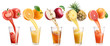 Fresh juice pours from fruits and vegetables in a glass. - 76237761