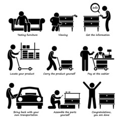 Buy Furniture From Self Service Store Pictogram
