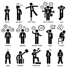 usinessman Attitude Personalities Characters Pictogram