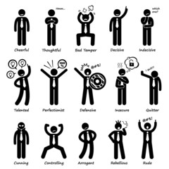 Businessman Attitude Personalities Characters Pictogram
