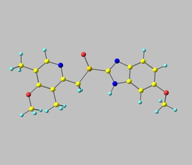 Esomeprazole molecule isolated on grey