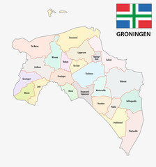 province Groningen administrative map with flag