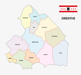 province drenthe administrative map with flag