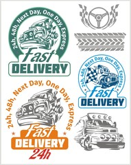 Delivery emblems and vector elements. Shipping signs collection.