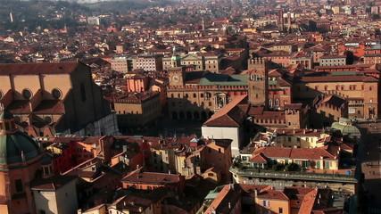 Italy. Old Bologna, Piazza Maggiore. Zoom.