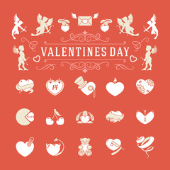 Valentines Day and Wedding Vintage Objects Vector symbols Set