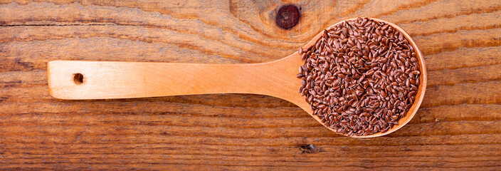 Linseed on a wooden spoon