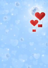 Fabric heart air balloon on fantasy heart space and moon