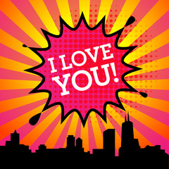 Comic explosion with text I Love You, vector