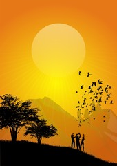 sunset scene and people with flying bird