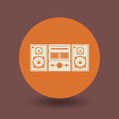 Cassette player icon or sign, vector
